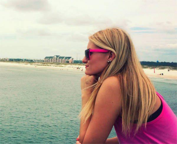 Ashlin Bohl stare across the ocean