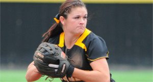 Shocker Softball pitcher getting ready to pitch the ball.