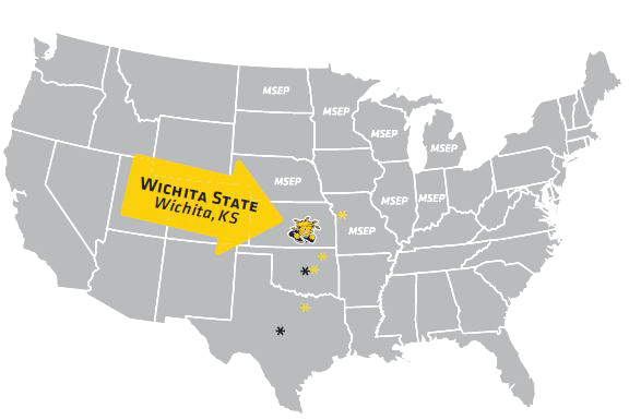 US map showing where Wichita is