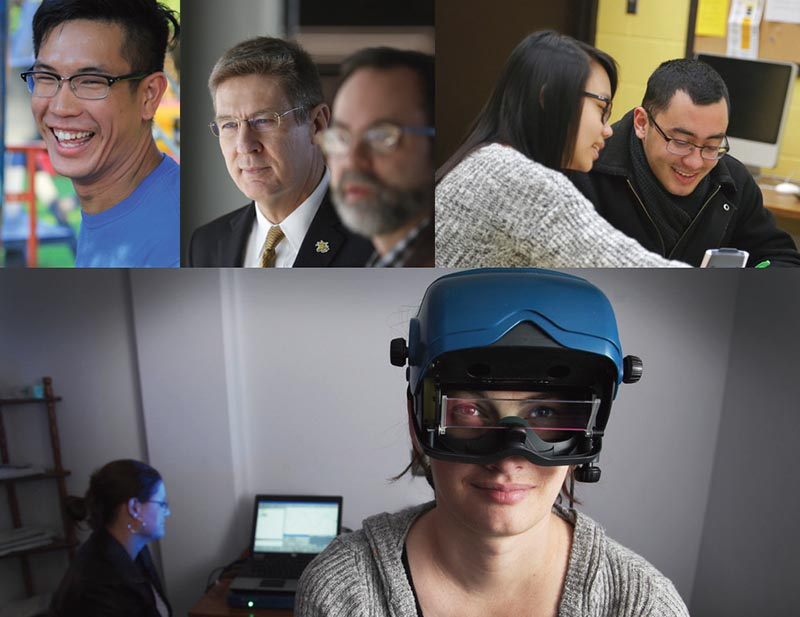 Collage of Wichita students working, talking, and using VR