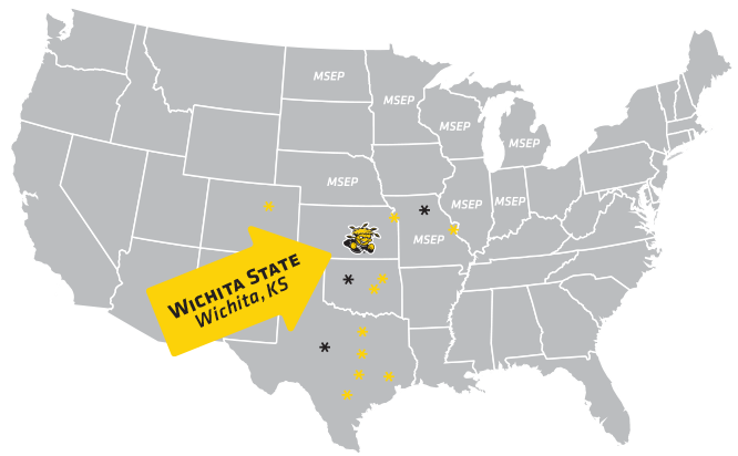 US map showing Shocker City Discounts